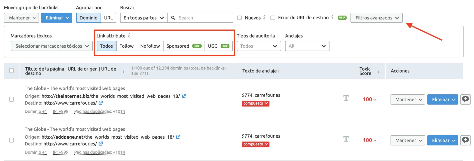 Novedades de SEMrush de octubre 2019 - Atributos en auditoría backlinks