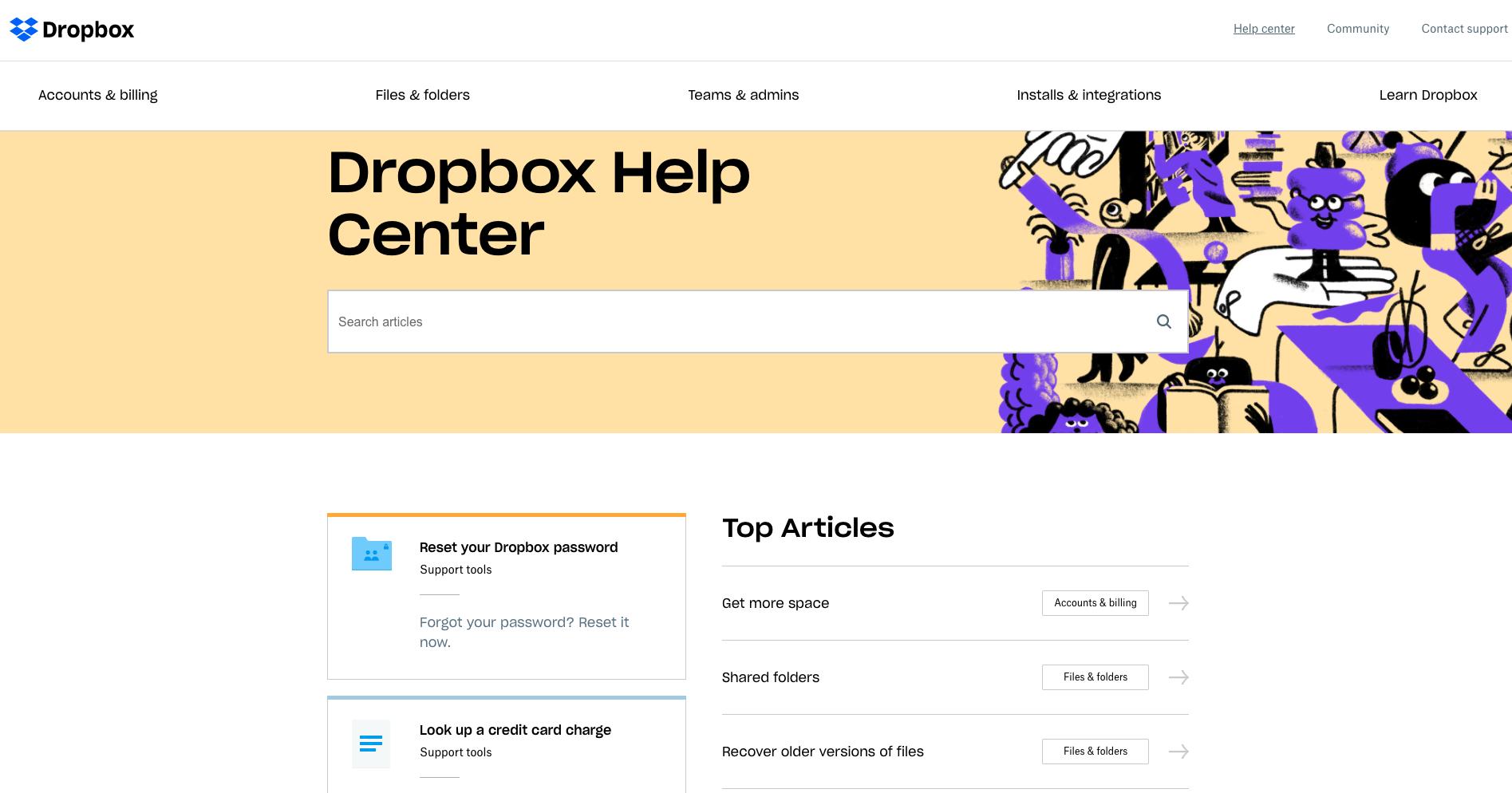 Dropbox FAQs page
