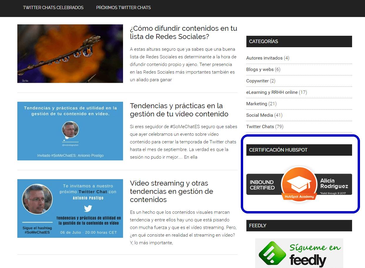 Cómo incluir la certificación online de Hubspot en una web