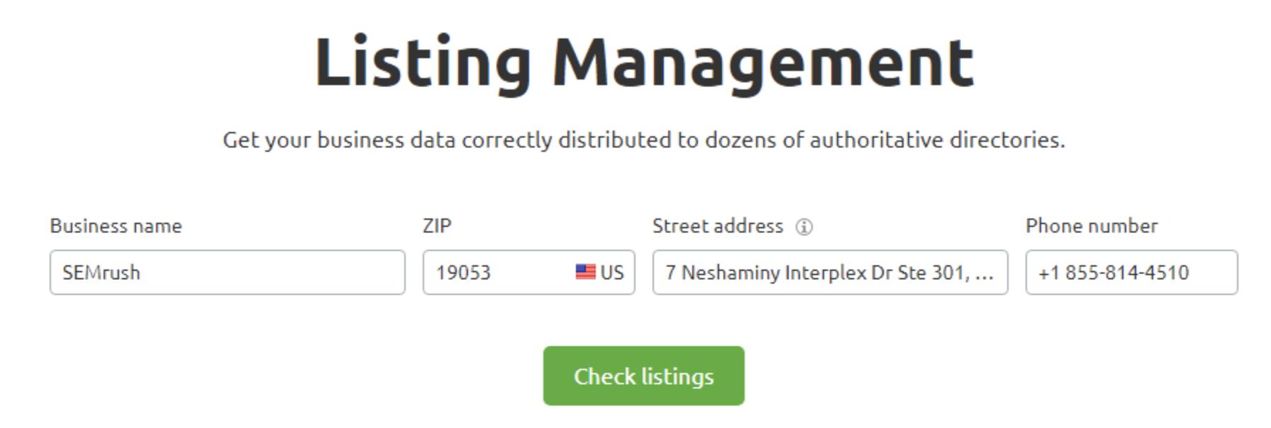 Listing Managment SEMrush