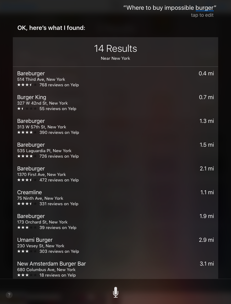 Apple's Siri answer to the local search query