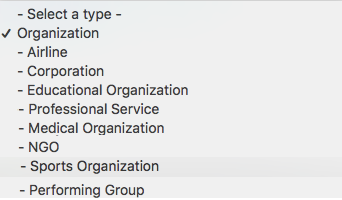 organization schema values