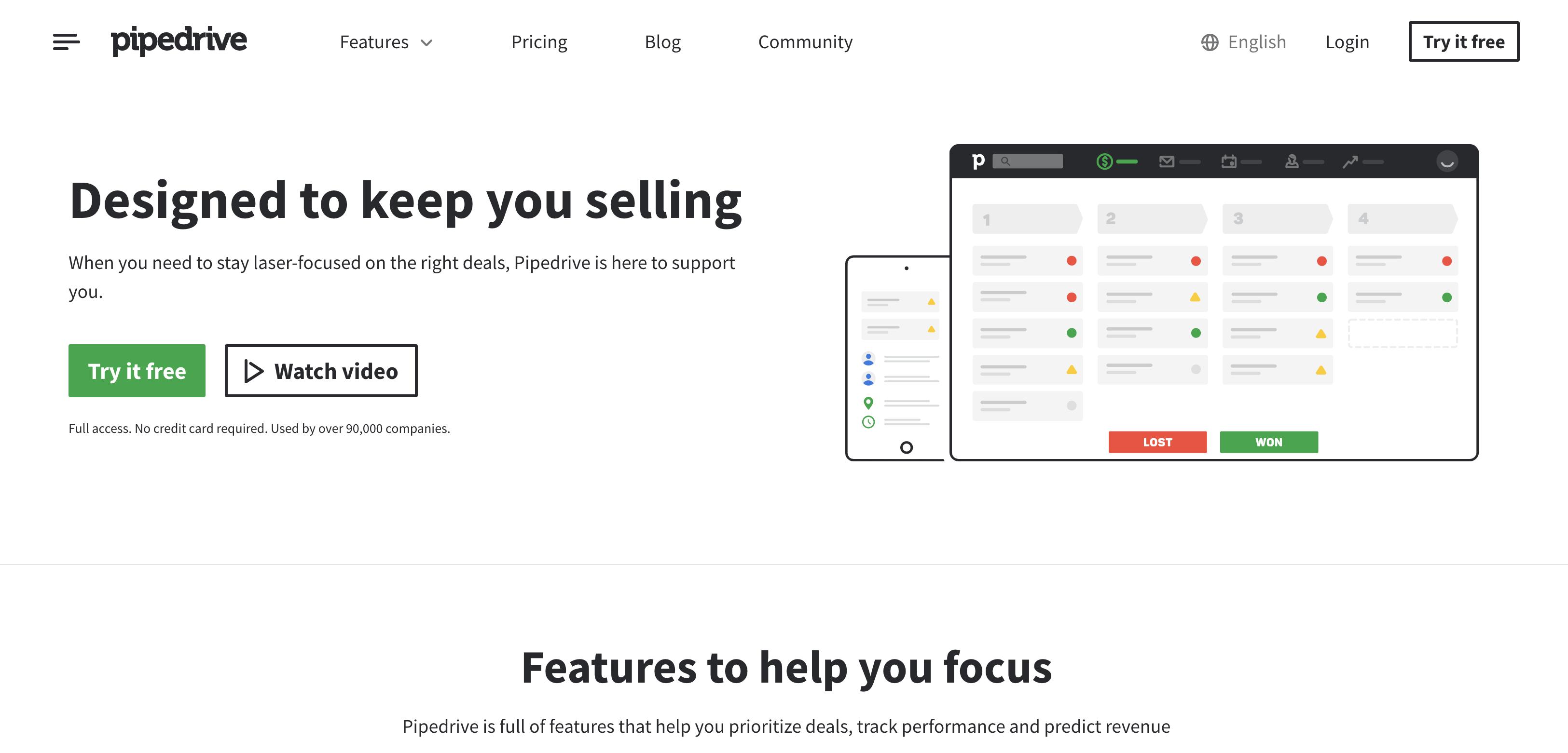 Pipedrive homepage screenshot