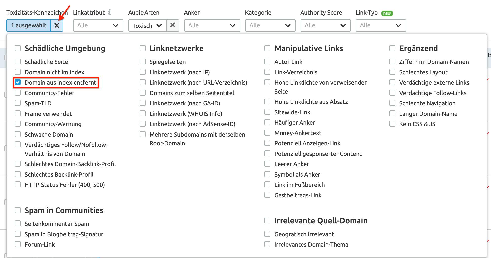 Backlink-Audit: Toxizitäts-Kennzeichen