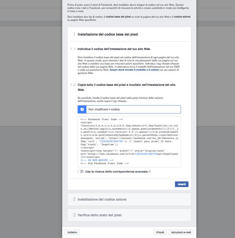Facebook pixel: installazione manuale