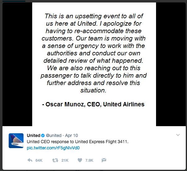 Oscar Munoz apology tweet