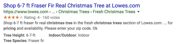 A screenshot of rich results for Christmas trees at Lowes which includes an aggregate rating value and clean breadcrumbs