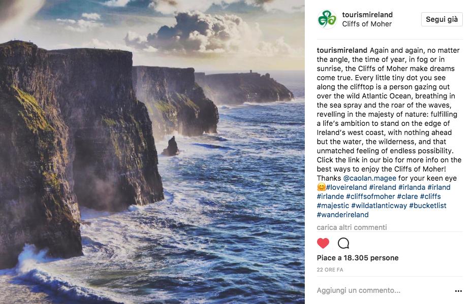 Strategia di visual storytelling di Tourism Ireland (Instagram post)