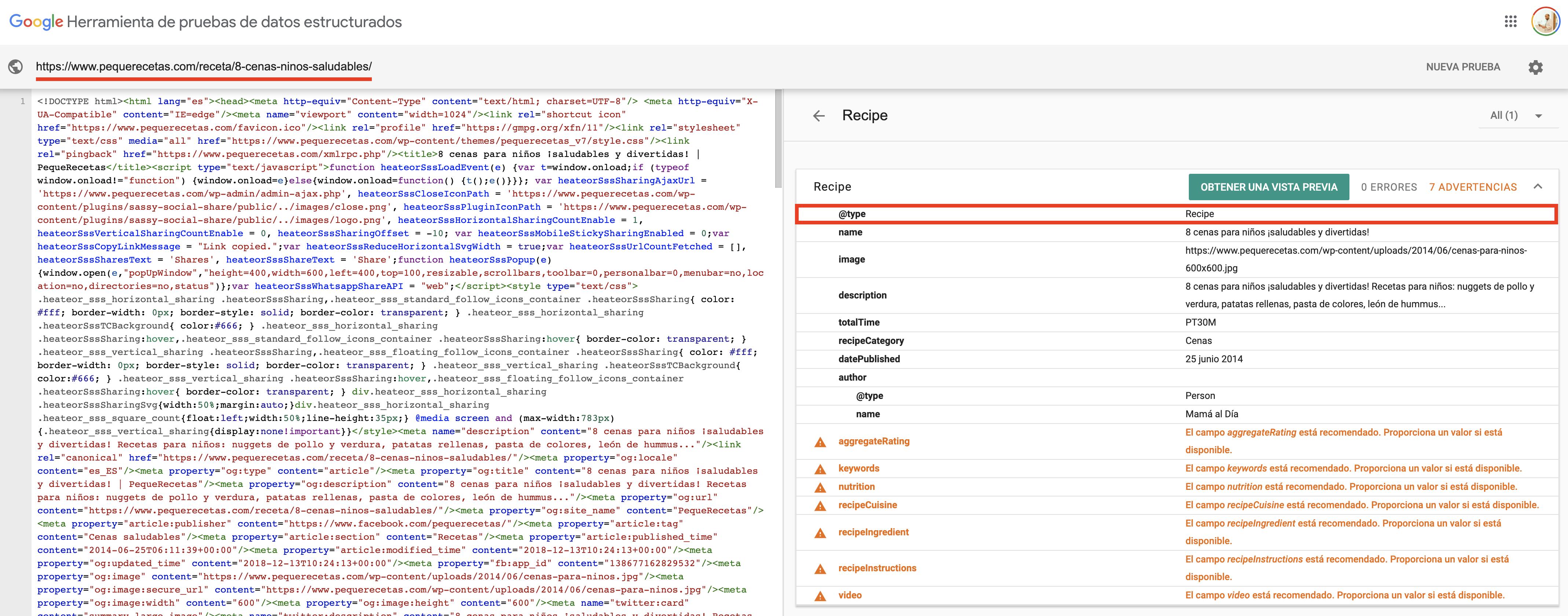 Herramienta de datos estructurados de Google