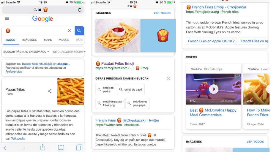 Cómo utilizar emojis - Google pizza