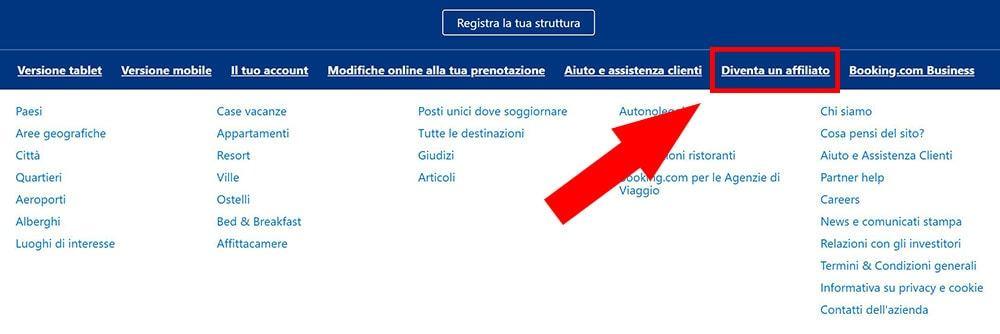 Dove trovare il link per diventare affiliato di un sito (qui Booking.com)