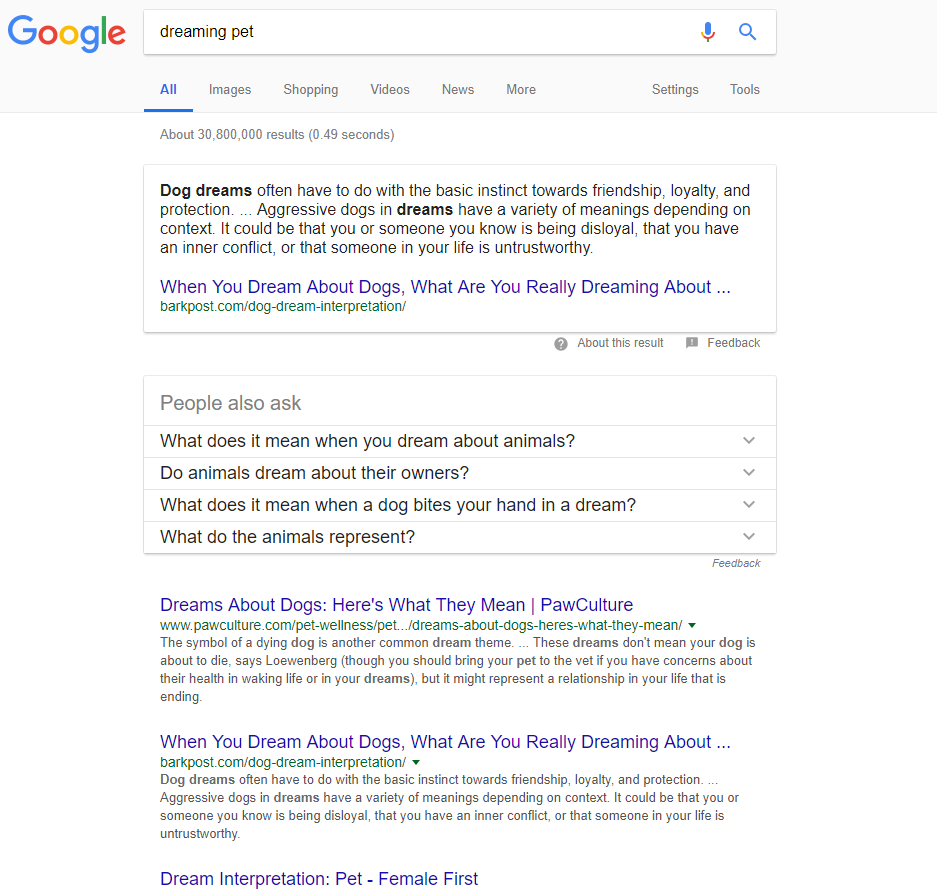 Search results for 'dreaming pet' query