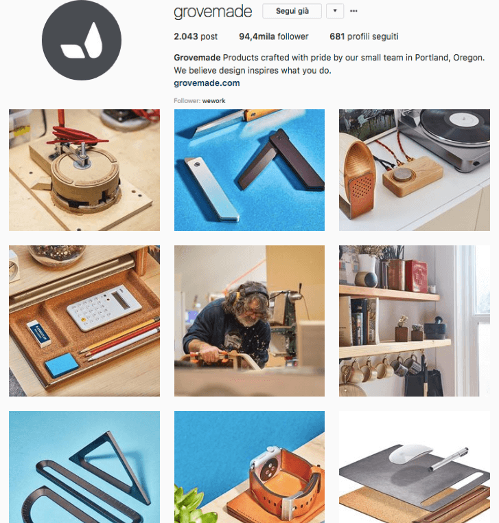 Seguire su Instagram: account di Grovemade