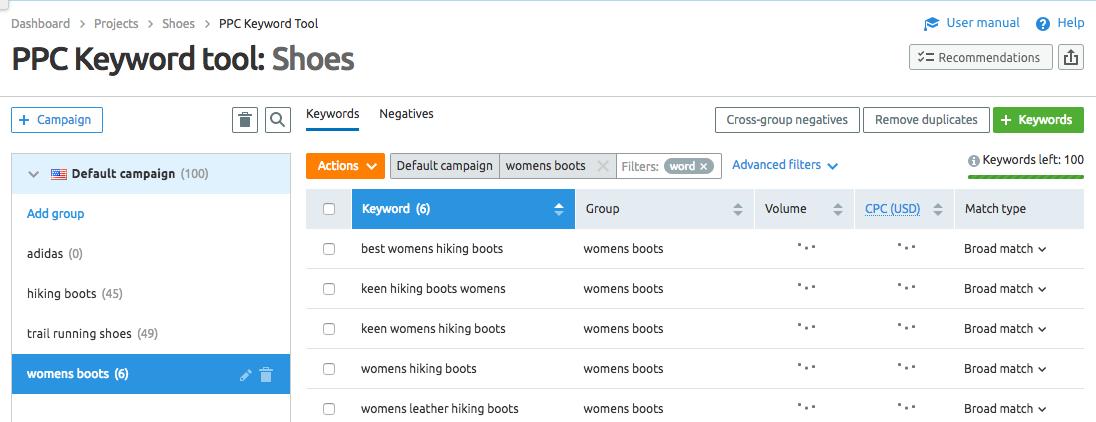 PPC Keyword tool