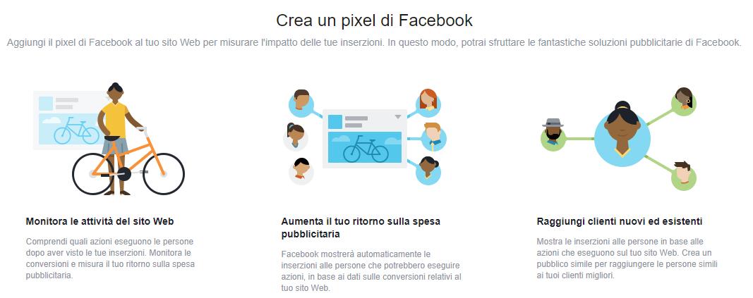 Crea pixel Facebook