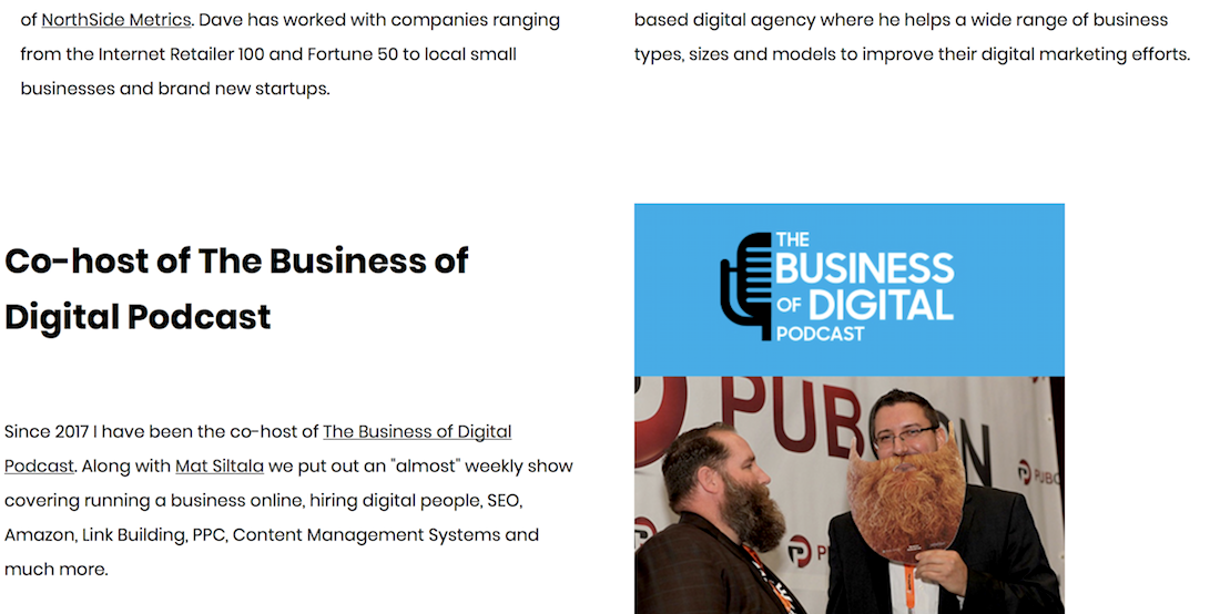 Example of links to the Business of digital marketing