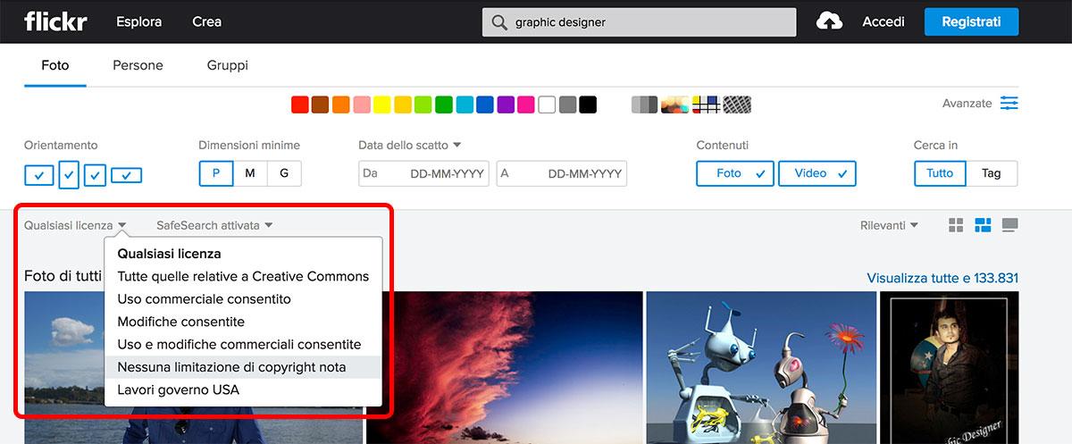 Immagini per siti web gratis: Filtro di ricerca licenze Flickr