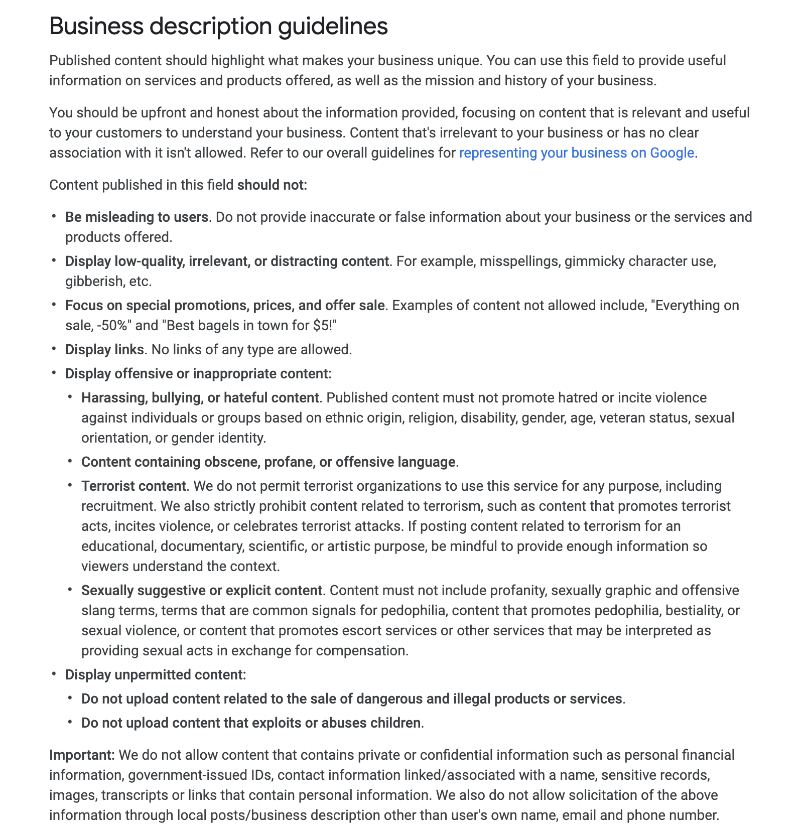 GMB description guidelines for businesses