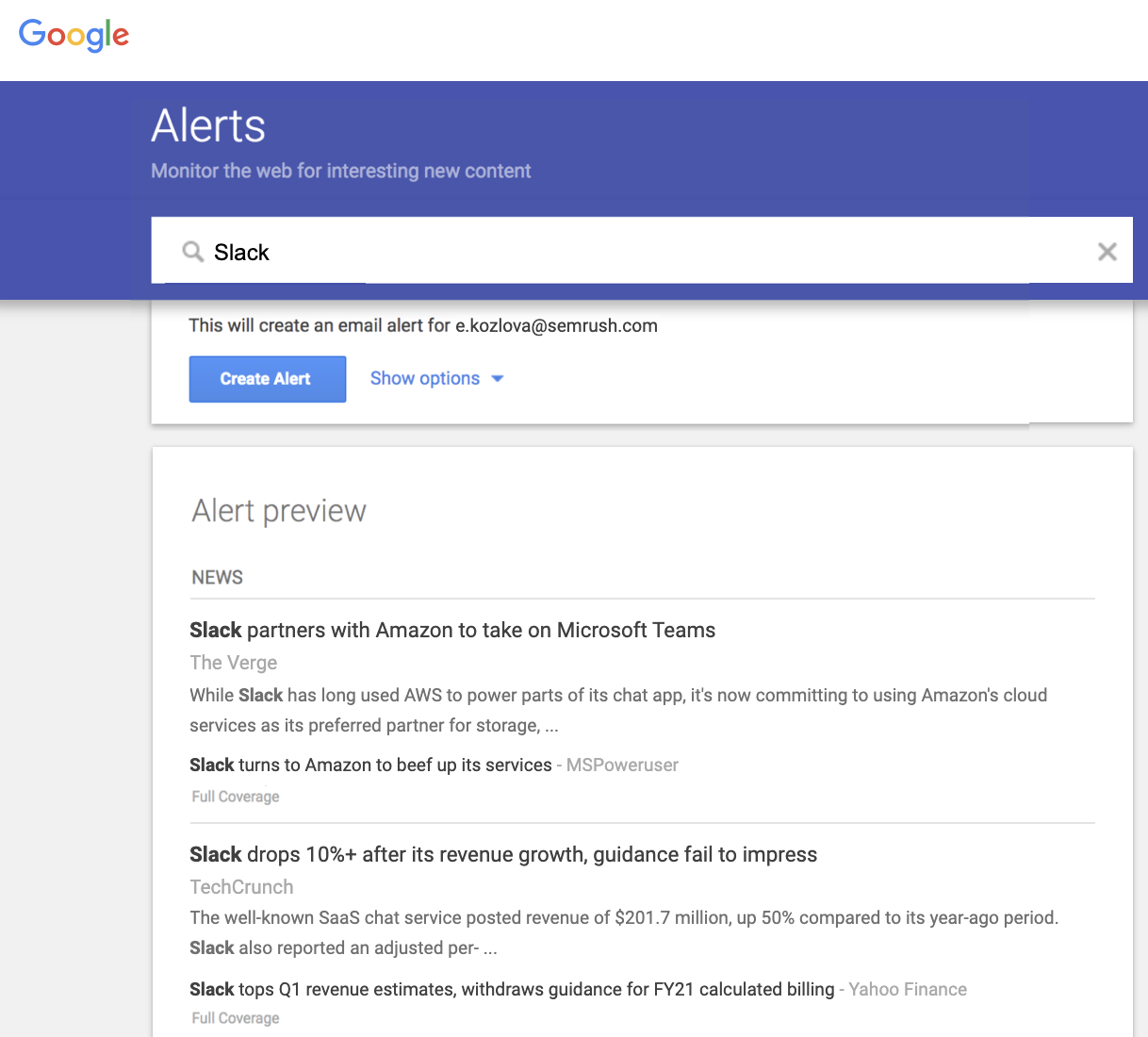 Google Alerts Tool for Market Trend Analysis