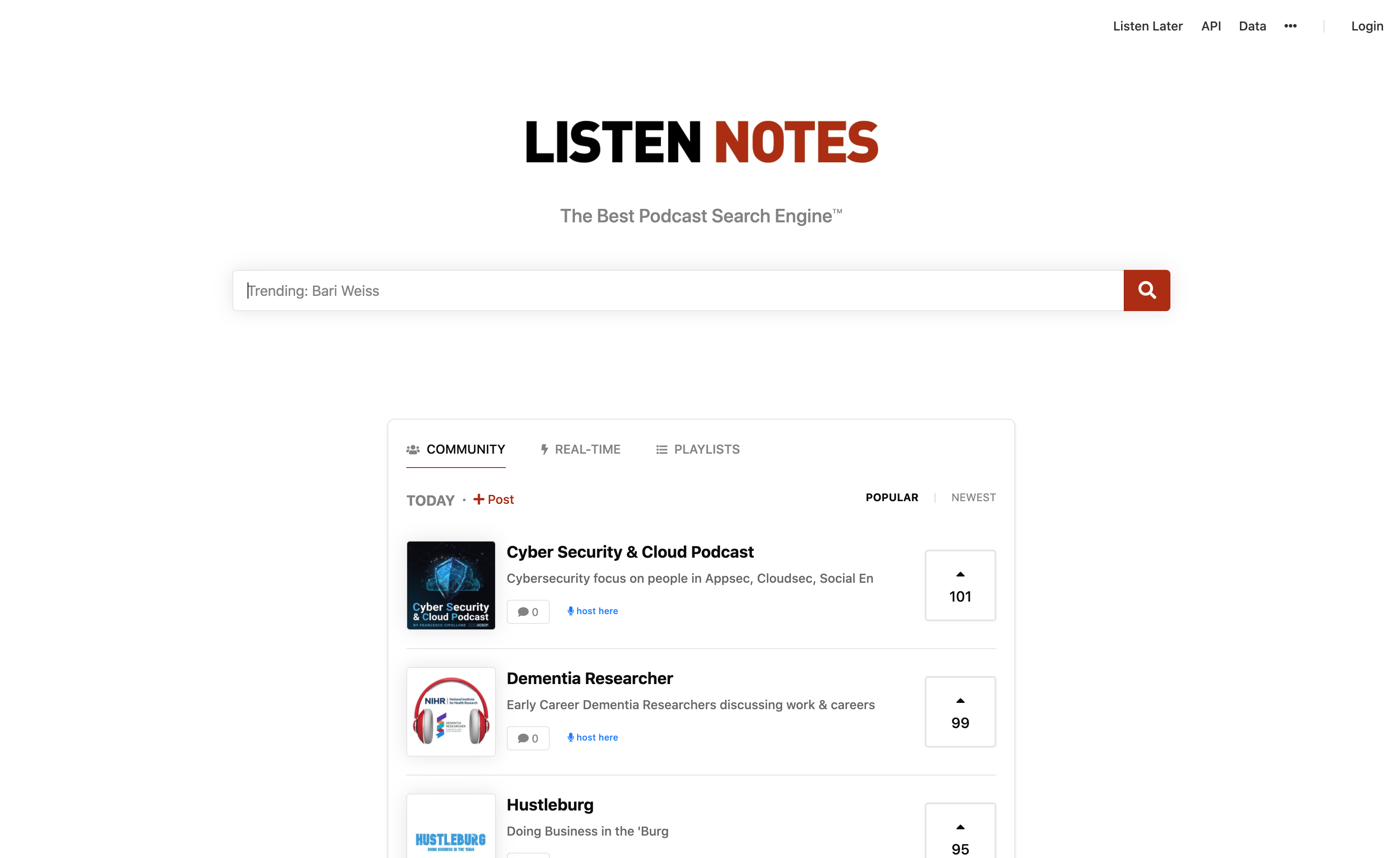 Listen Notes Podcast Search Engine Screenshot