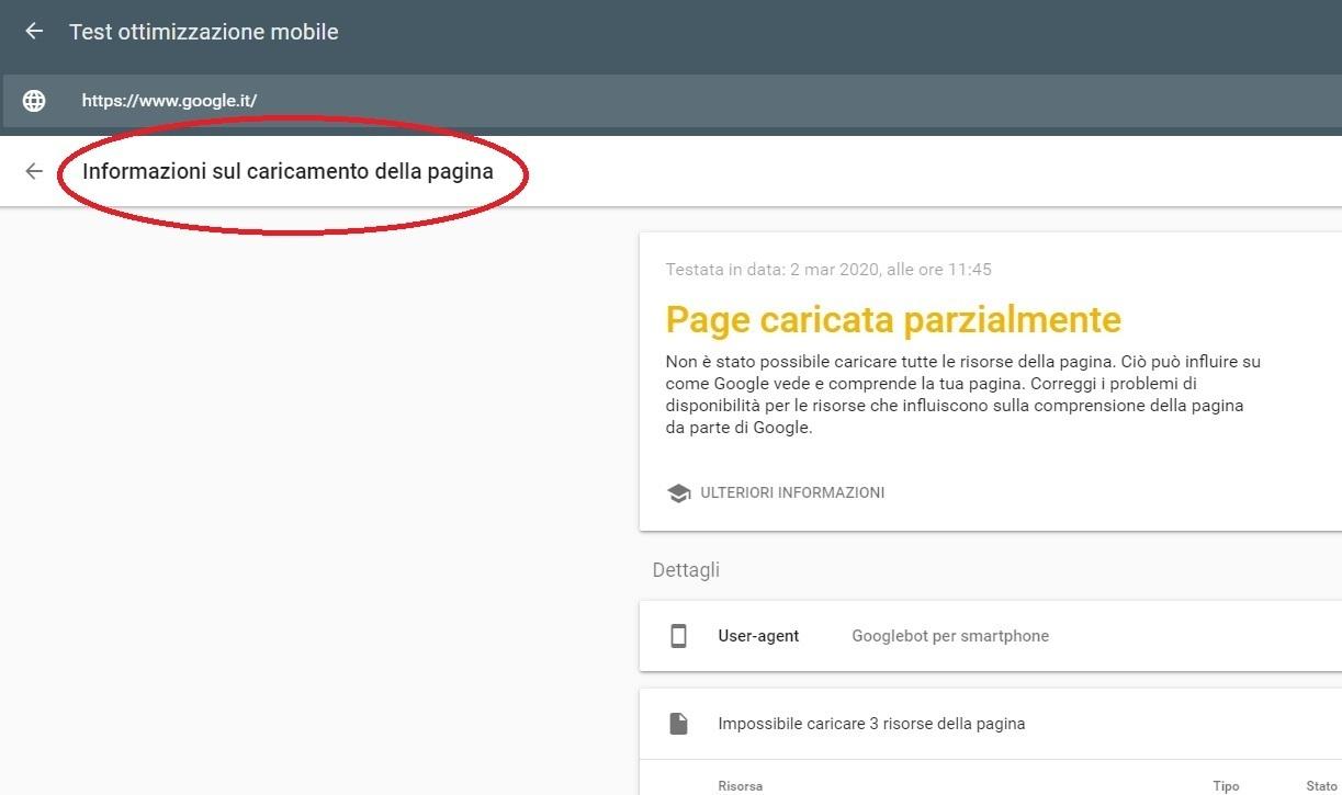 test javascript: problemi di caricamento della pagina