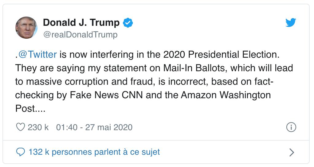 Twitter épingle Donald Trump pour