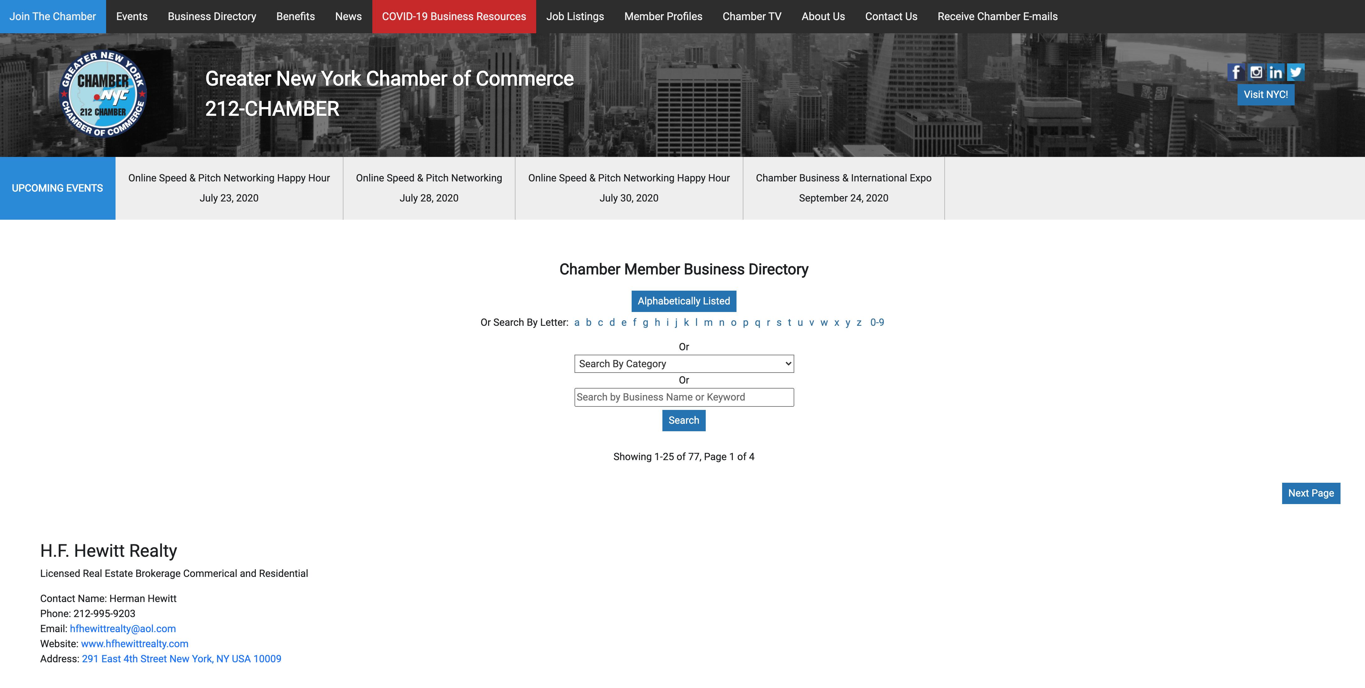 NY Chamber of Commerce screenshot