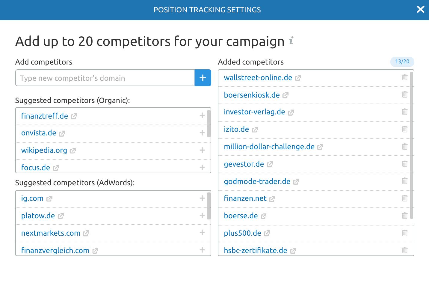 Website und Keyword Ranking abfragen, analysieren und überprüfen. Bild 3