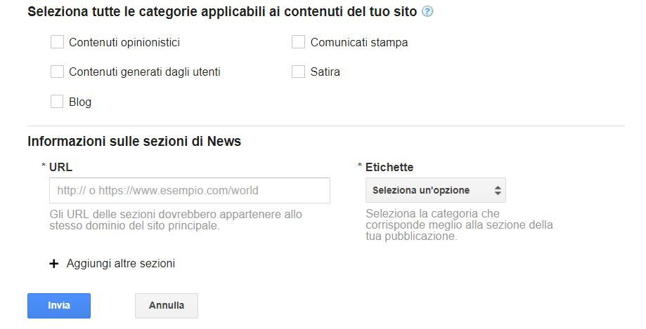 entrare in google news
