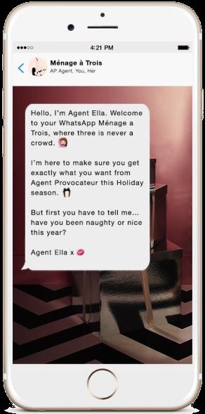 Esempio di campagna whatsapp business: agent provocateur