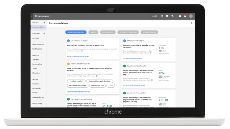 New Adwords Recommendations page