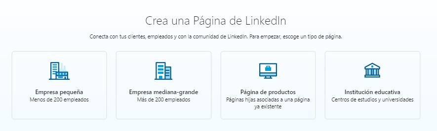 Páginas de empresas en LinkedIn - Tipo de empresa