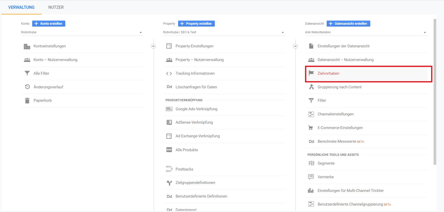 Google Analytics: Zielvorhaben