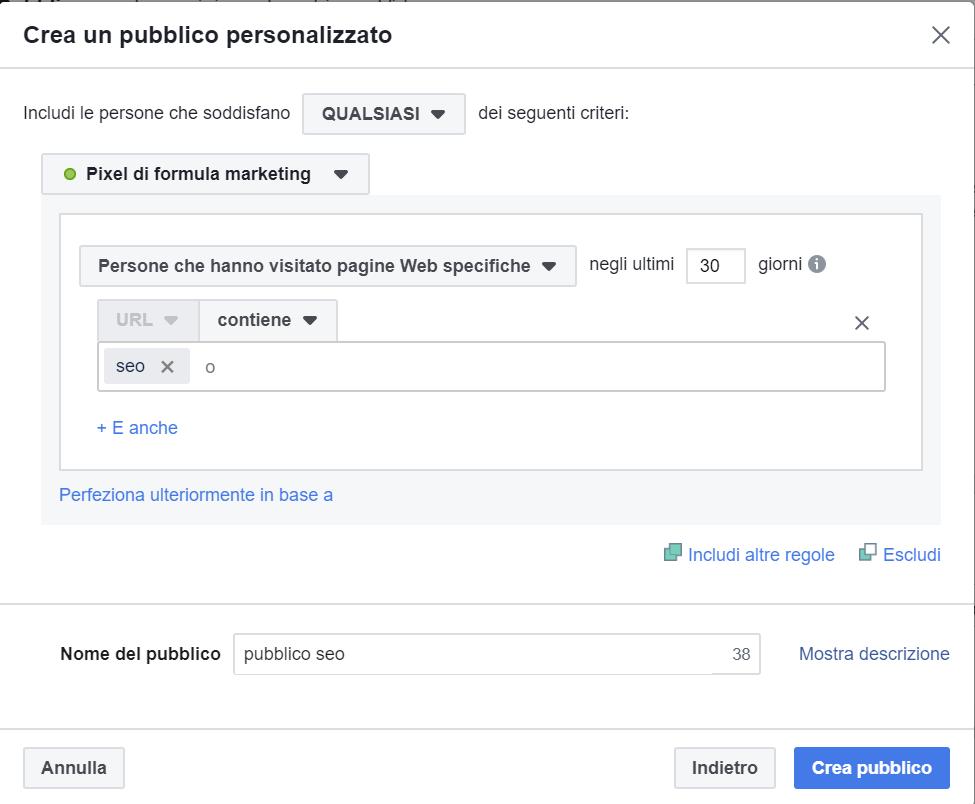 Facebook: pubblico personalizzato
