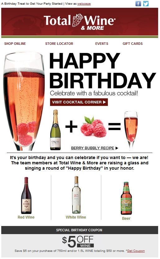 Marketing según generaciones - Emailing Total Wine
