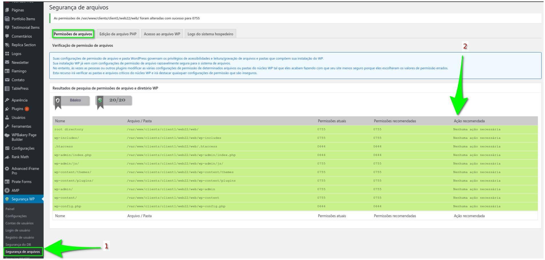 Permissões de arquivos - All in One WP Security