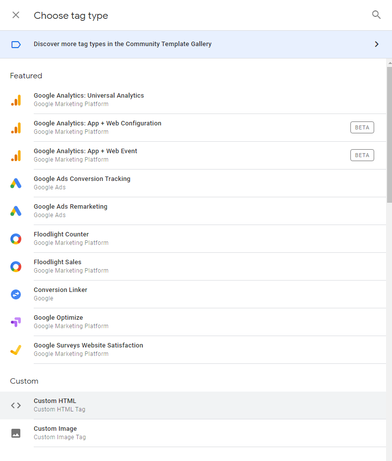 Choosing tag type in Google Tag Manager screenshot