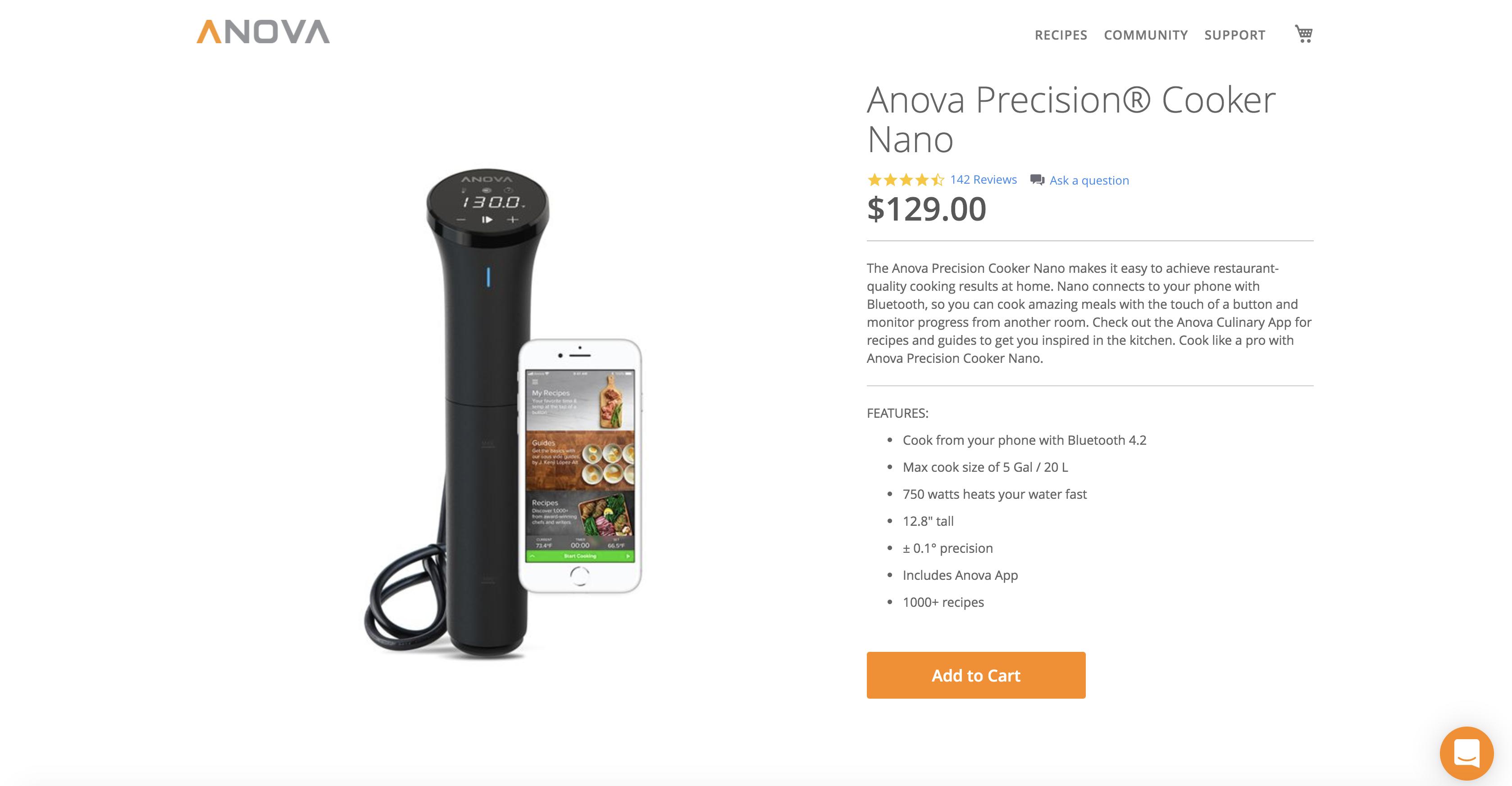 Anova Product Page