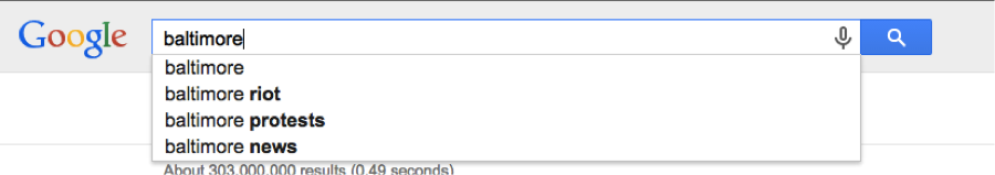 Google search for Baltimore