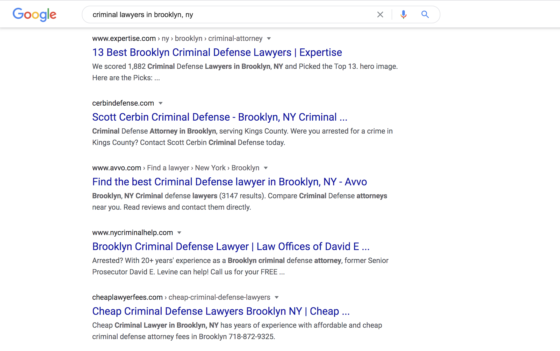 small business google search screenshot