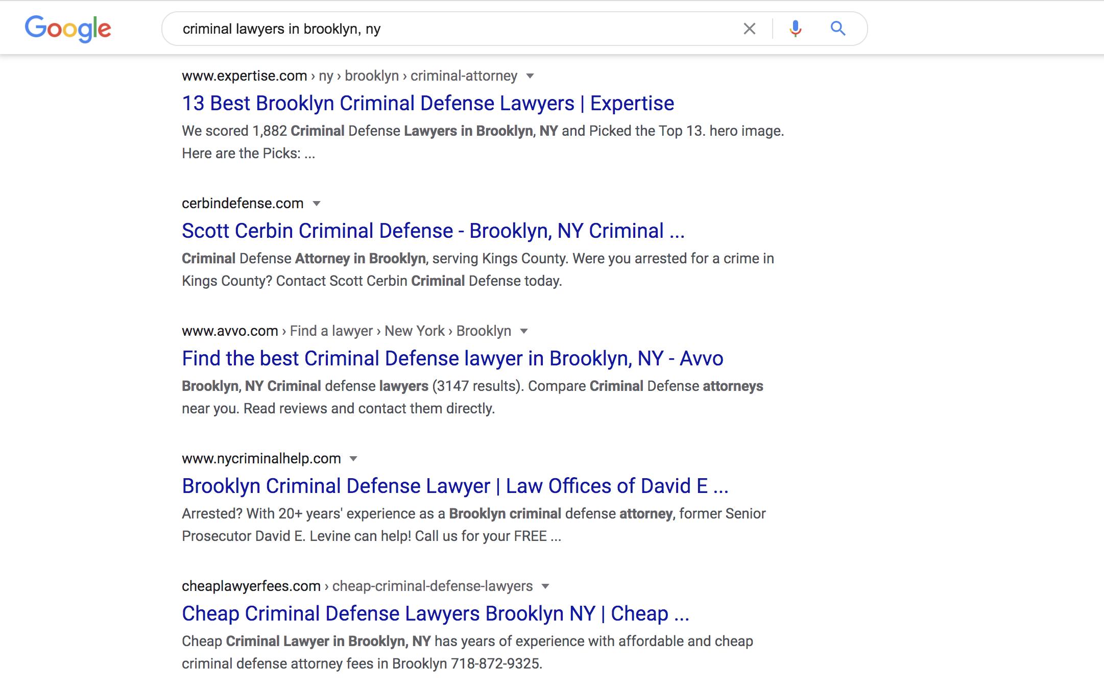 small business google search screenshot