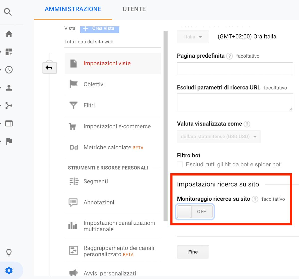 guida per impostare la ricerca su sito in google analytics