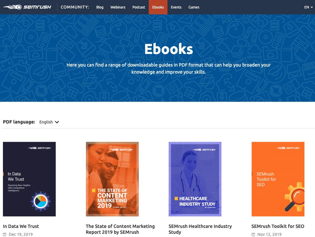 SEMrush Ebooks Section