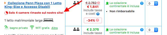 Booking.com sfrutta spesso il principio di scarsità per incentivare le conversioni