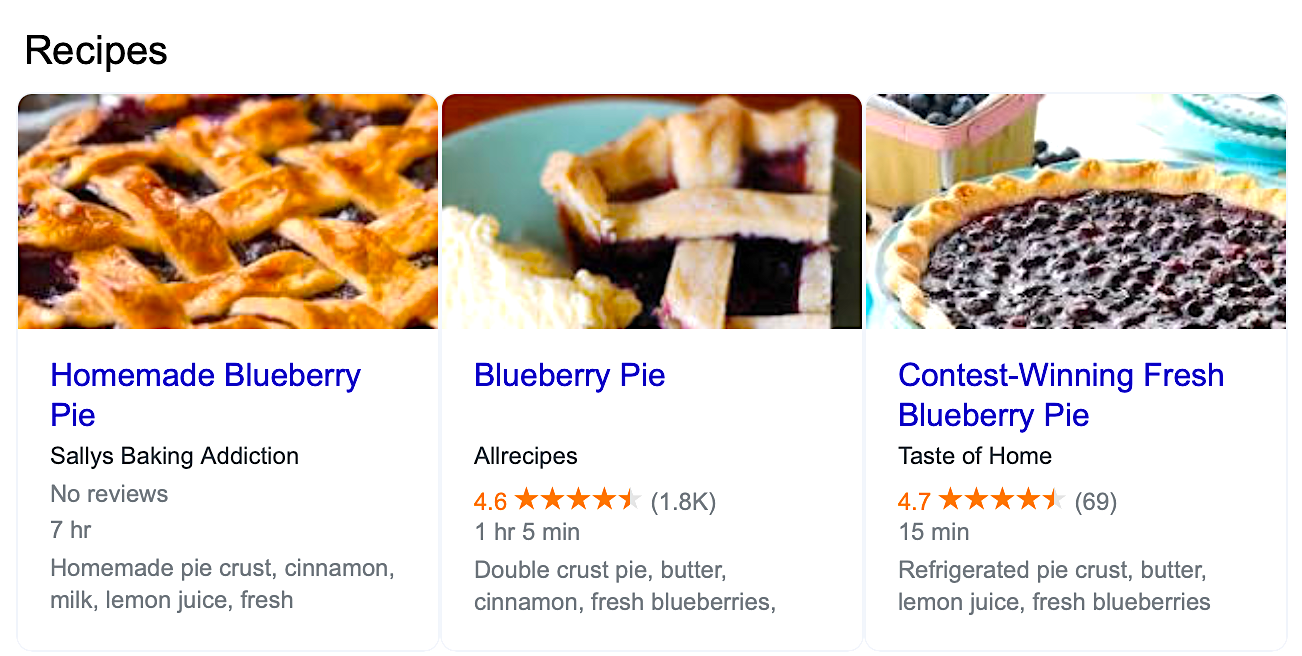 Example of structured data for recipes in the SERPs