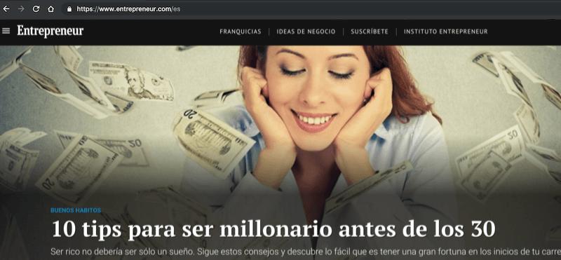 Il sito internazionale Entrepreneur ha una url dedicata agli utenti spagnoli