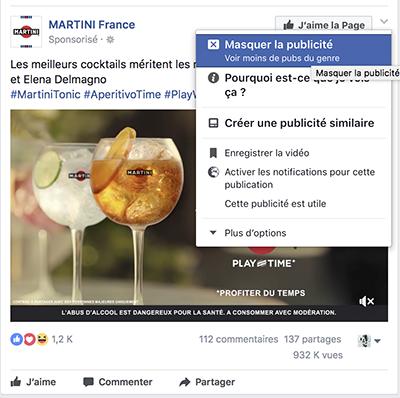 Masquer une publicité sur Facebook