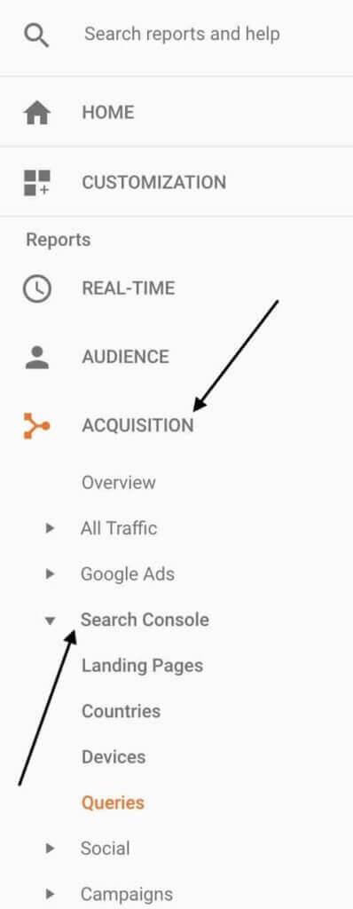Search Console in Google Analytics