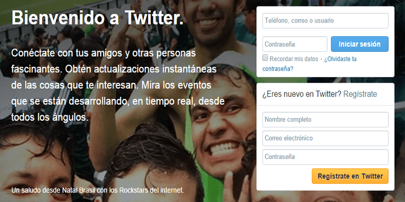Crear cuenta twitter - Paso 1