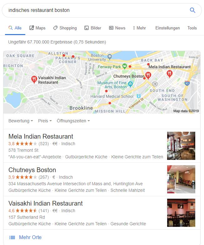 Google-Suche nach lokalem Geschäft
